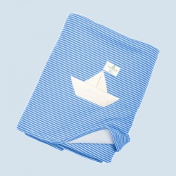 Nanchen baby blanket - boat design, blue, organic cotton