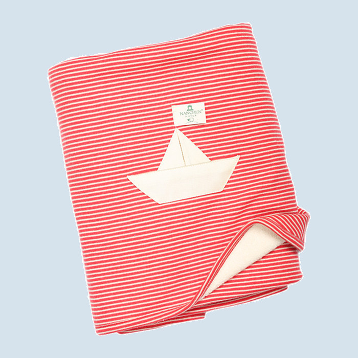 Nanchen baby blanket - boat design, red, organic cotton