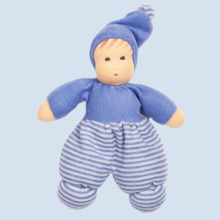 Nanchen eco doll - Mini Mopsi - blue, striped - organic