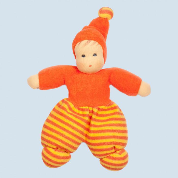 Nanchen Puppe - Mini Möpschen - orange gestreift, Bio Baumwolle