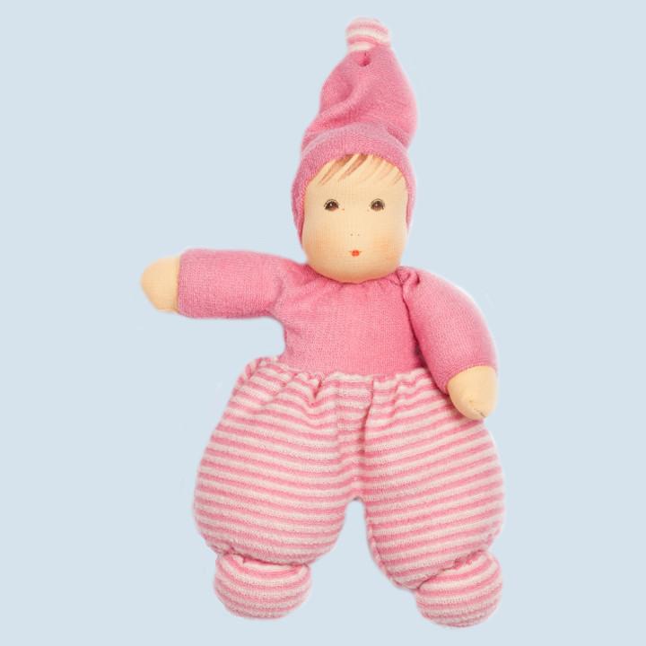 Nanchen Puppe - Mini Möpschen - rosa gestreift, Bio Baumwolle