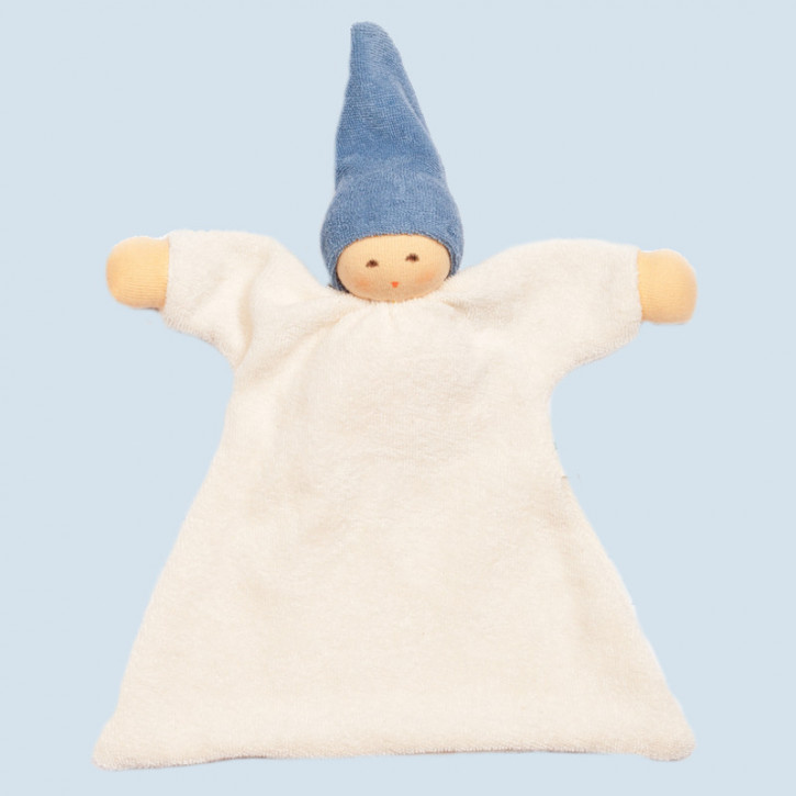 Nanchen organic soft toys - comforter Nuckel - blue, eco