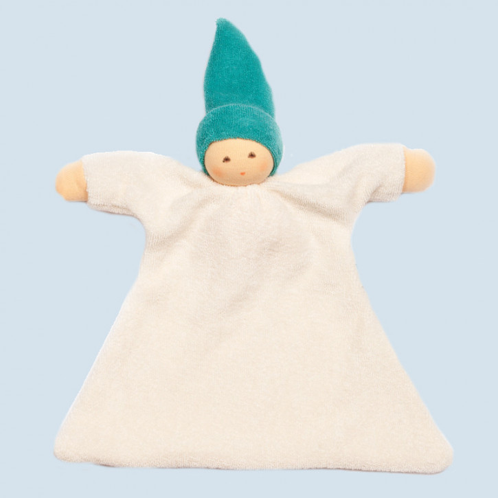 Nanchen organic soft toys - comforter Nuckel - turquoise, eco