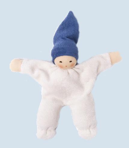 Nanchen - Puppe Nucki - blau, Bio Baumwolle