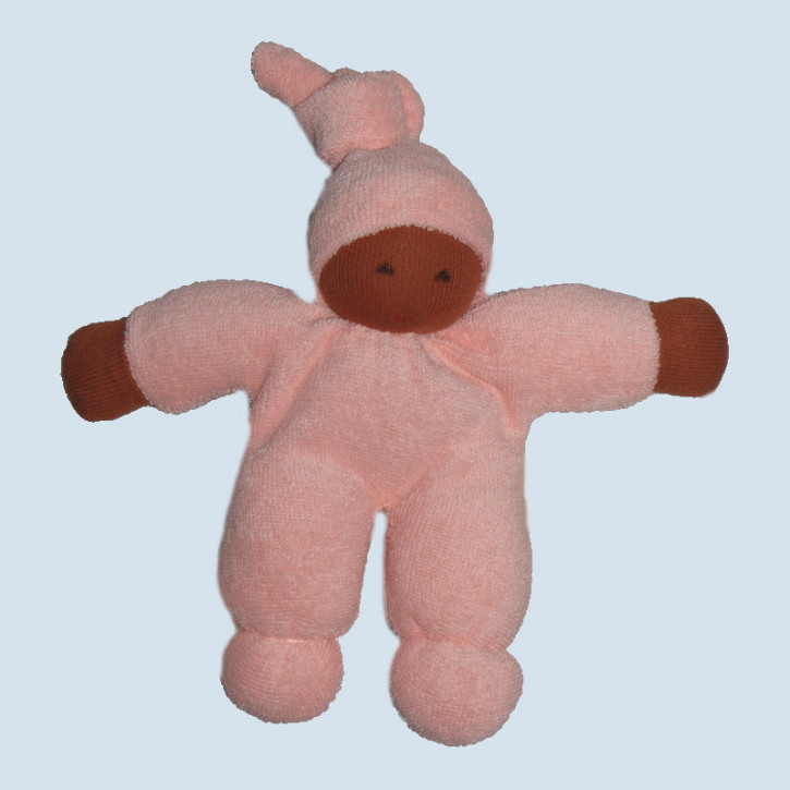 Nanchen eco doll - Pimpel - pink, brown, organic cotton,