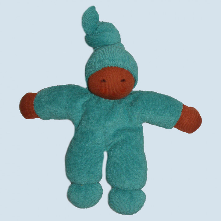 Nanchen eco doll - Pimpel - turquoise, brown, organic cotton