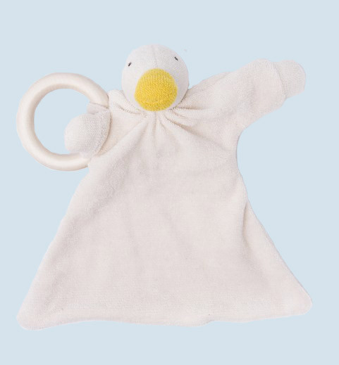 Nanchen doll - comforter duck - wooden ring, organic cotton, eco