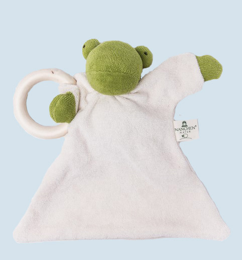 Nanchen doll - comforter frog - wooden ring, organic cotton