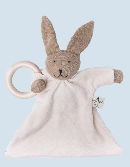Nanchen doll - comforter rabbit, bunny - wooden ring, organic cotton
