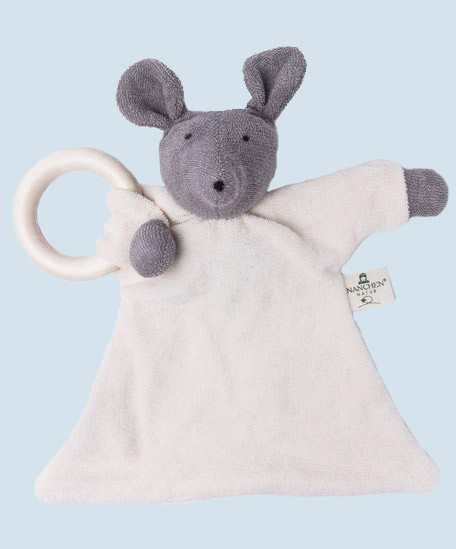 Nanchen doll - comforter mouse - wooden ring, organic cotton