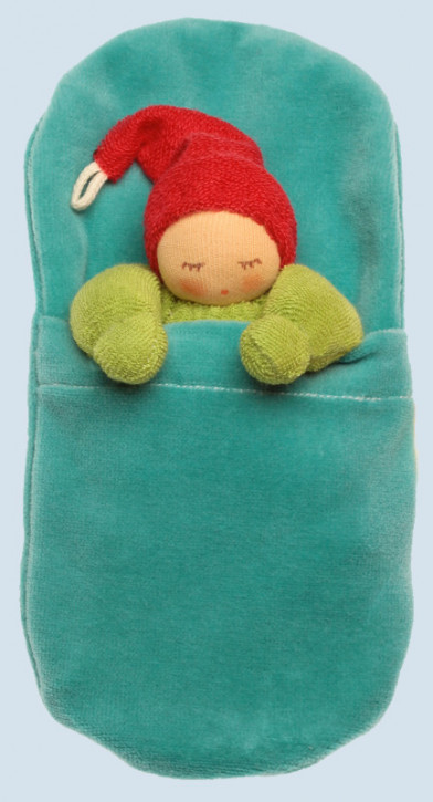 Nanchen - organic soft toys - Gnome - green, with sleeping bag