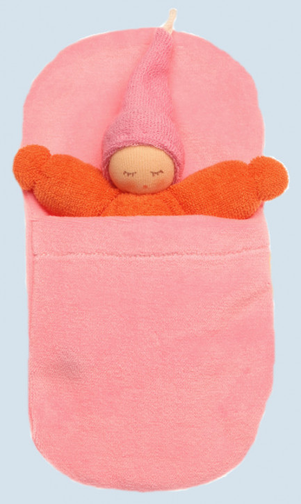 Nanchen - organic soft toys - Gnome - orange, with sleeping bag