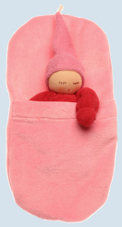 Nanchen - organic soft toys - Gnome - red, with sleeping bag