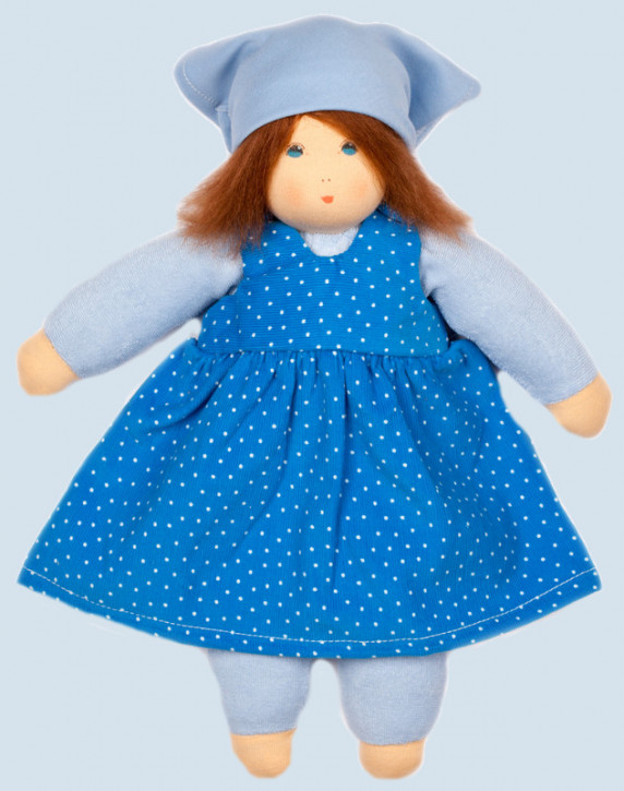 Nanchen eco doll - summer child Lotti - blue, organic cotton