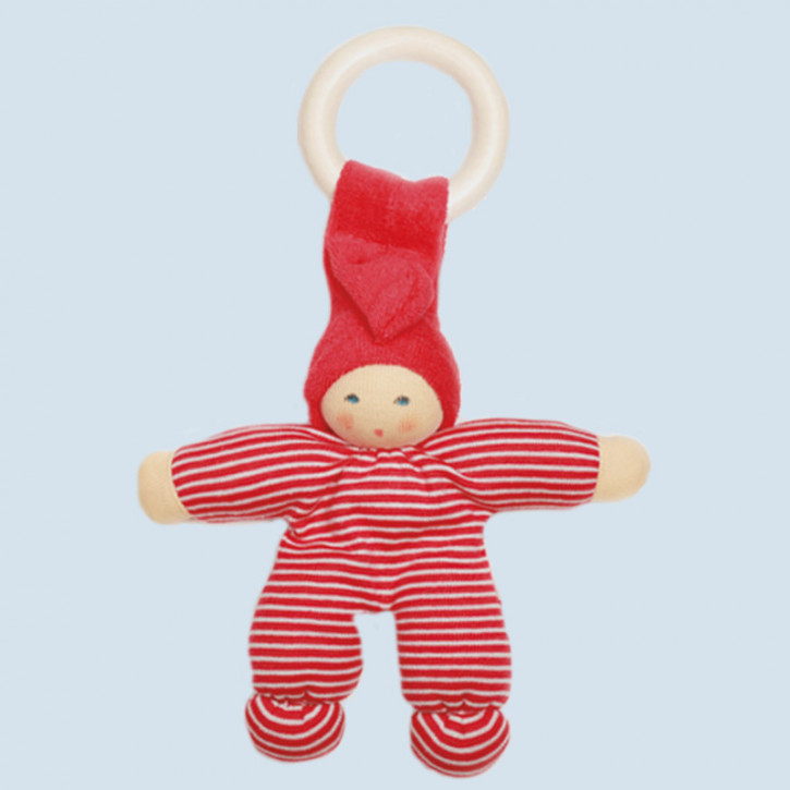 Nanchen Doll - Pimpel - red striped, organic cotton, wooden ring, eco