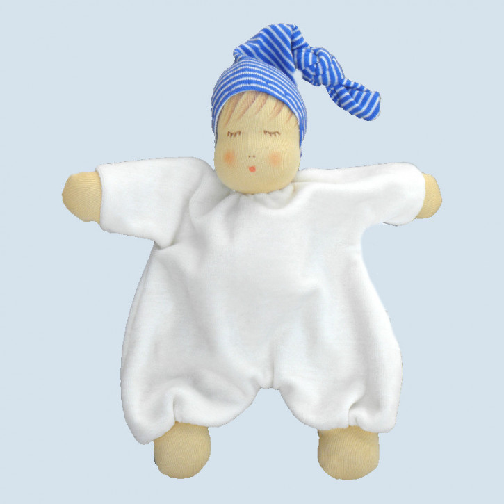 Nanchen eco sleeping doll - baby comforter - blue, organic cotton