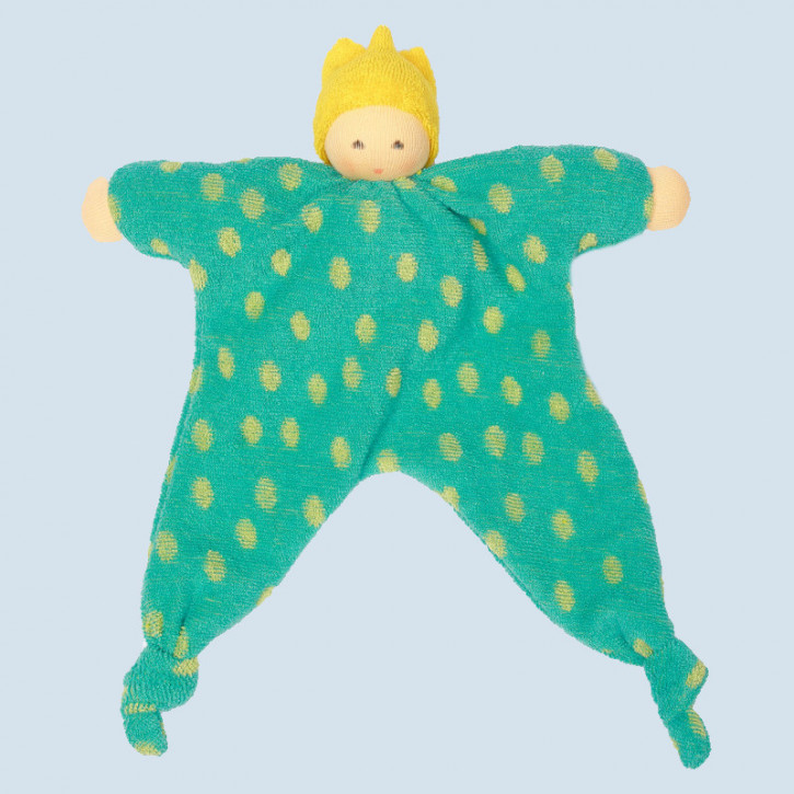 Nanchen Doll -  prince dots, green - organic cotton