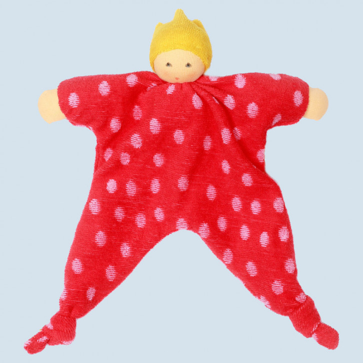 Nanchen Doll -  princess dots, red - organic cotton