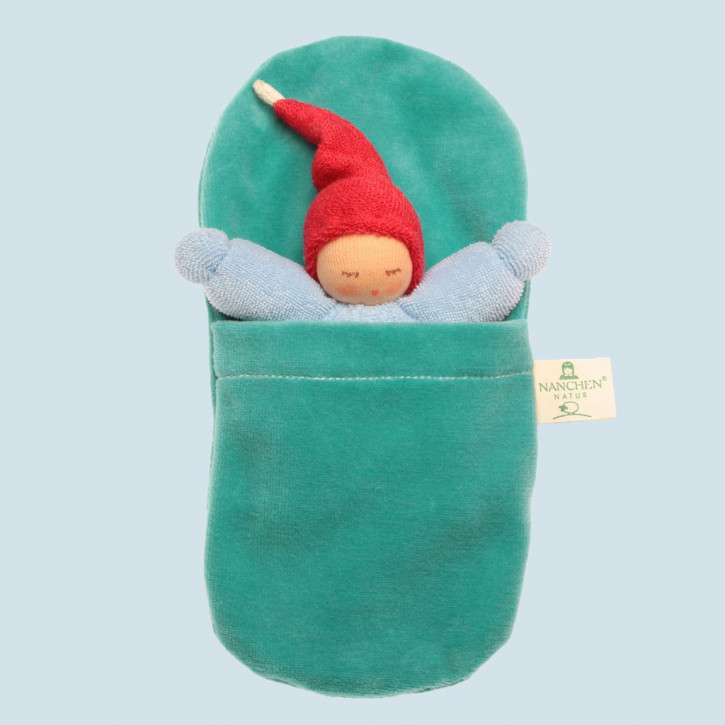Nanchen - organic soft toys - Gnome - blue, with sleeping bag
