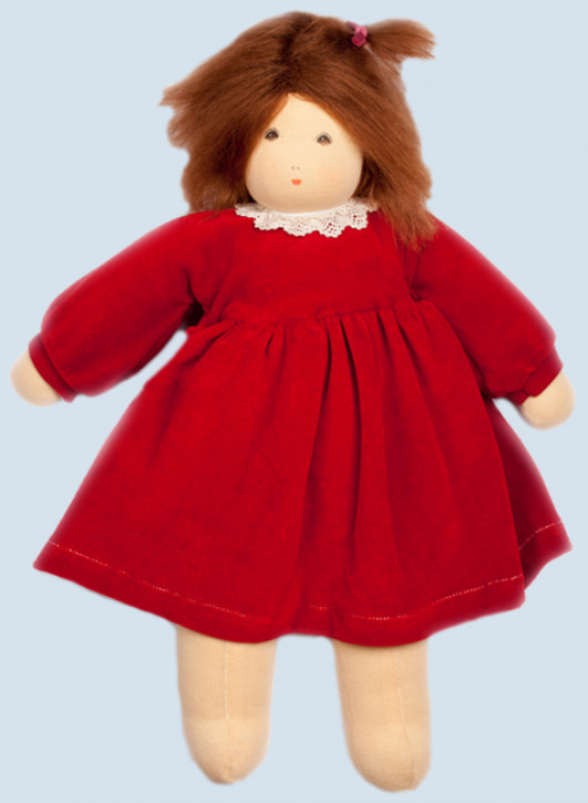 Nanchen doll - Wonne child Sophie, red - organic cotton