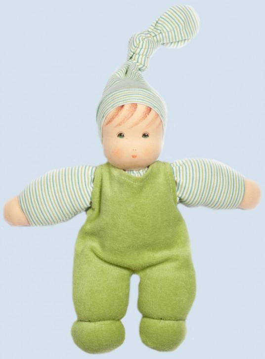 Nanchen Puppe - Wuschel mit Mütze - grün, Bio Baumwolle, öko