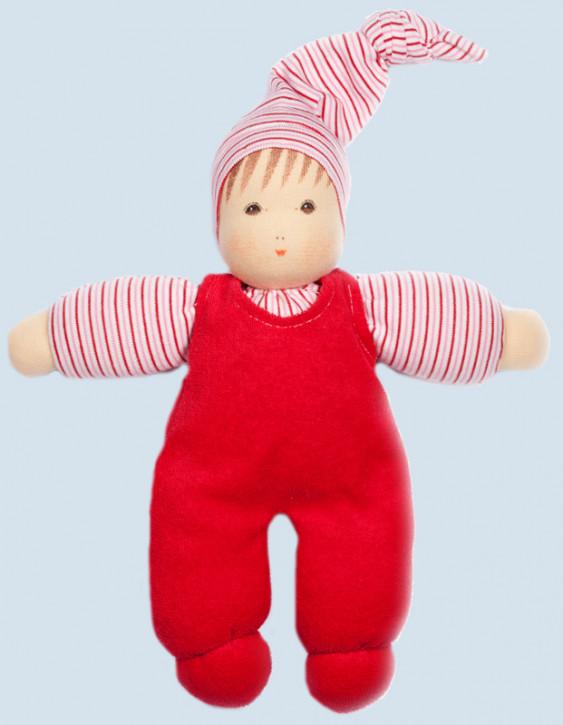 Nanchen Puppe - Wuschel mit Mütze - rot, Bio Baumwolle, öko