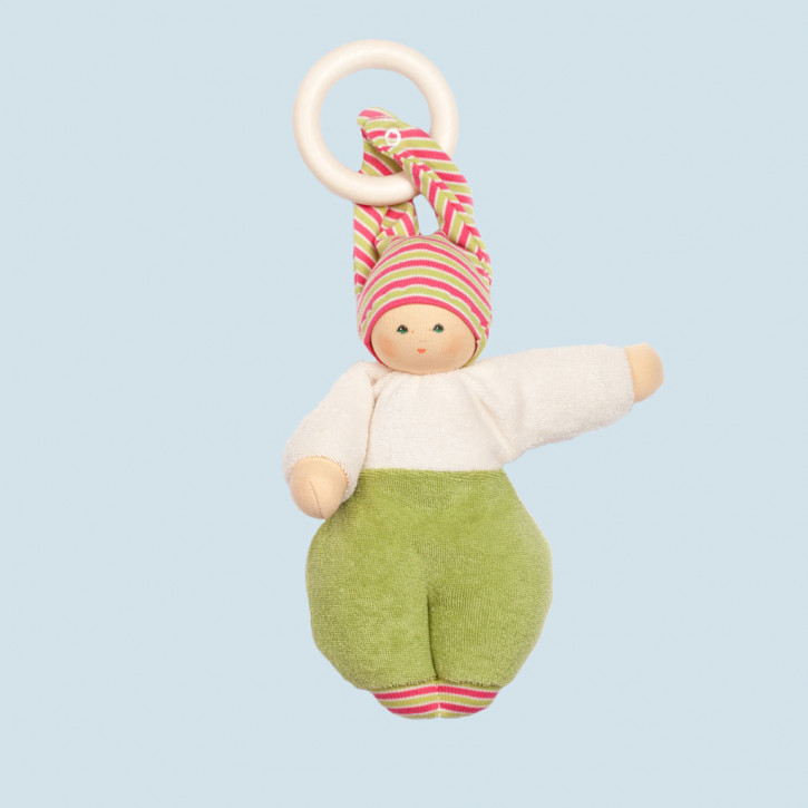 Nanchen Doll - Lolly green - organic cotton - with wooden ring
