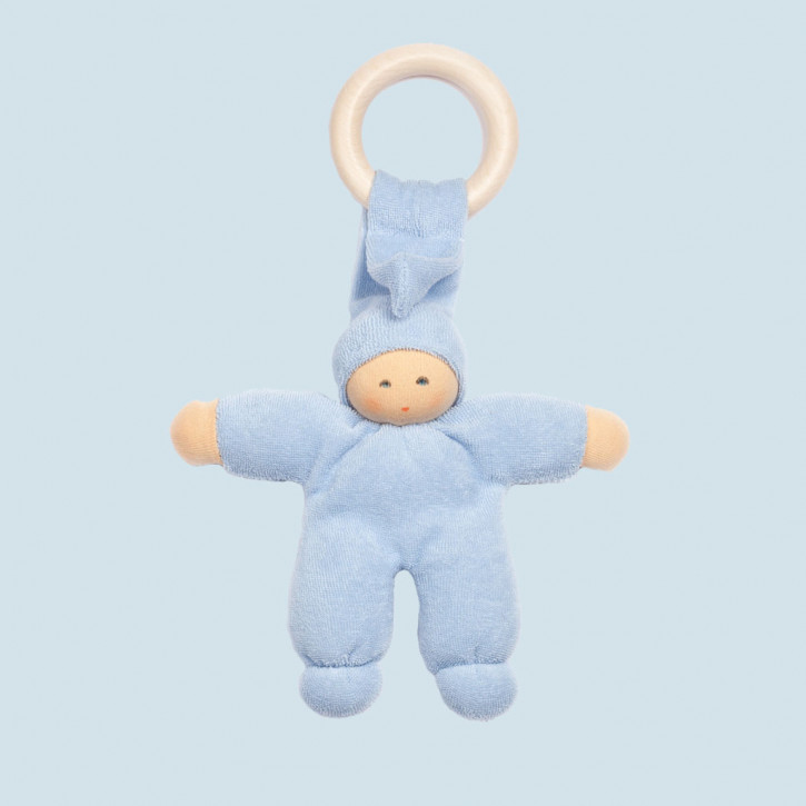 Nanchen Doll - Pimpel - light blue, organic cotton, wooden ring, eco