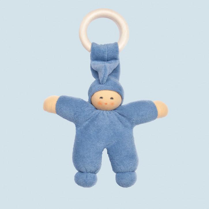 Nanchen Puppe - Greifling Pimpel, Holzring - blau, Bio Baumwolle, öko