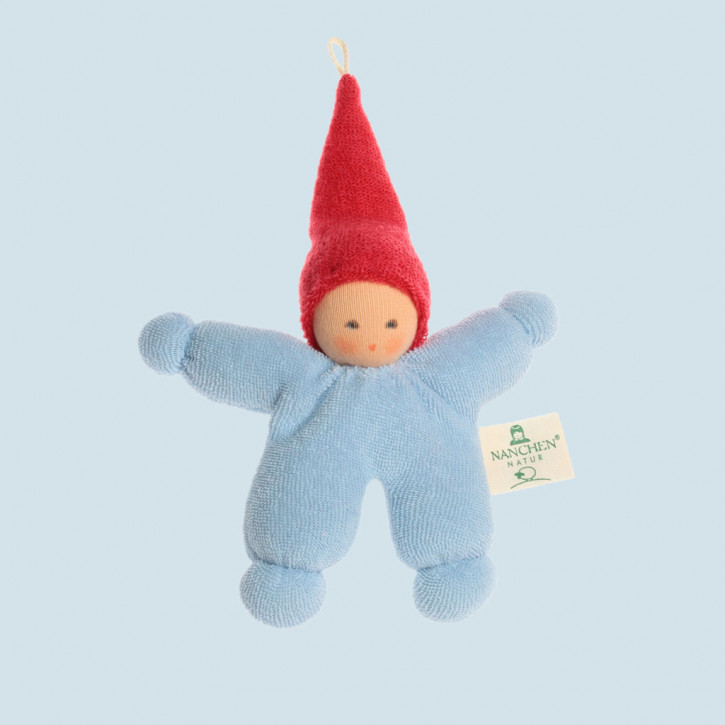 Nanchen - organic soft toys - Gnome - blue - red
