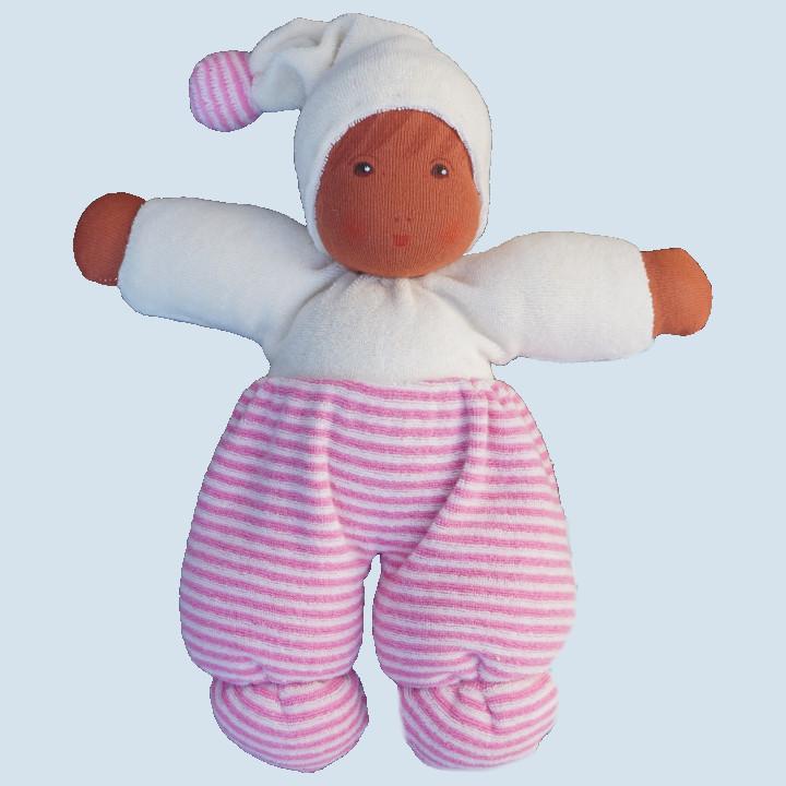 Nanchen Puppe - Möpschen - rosa gestreift, Bio Baumwolle - braun