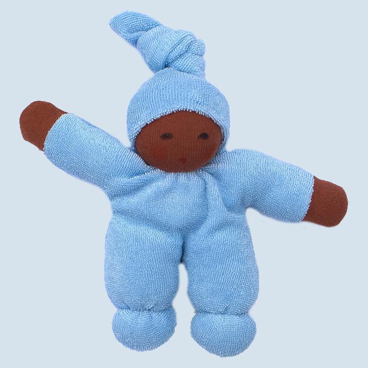 Nanchen Puppe - Schmusepuppe Pimpel - hellblau, Bio Baumwolle