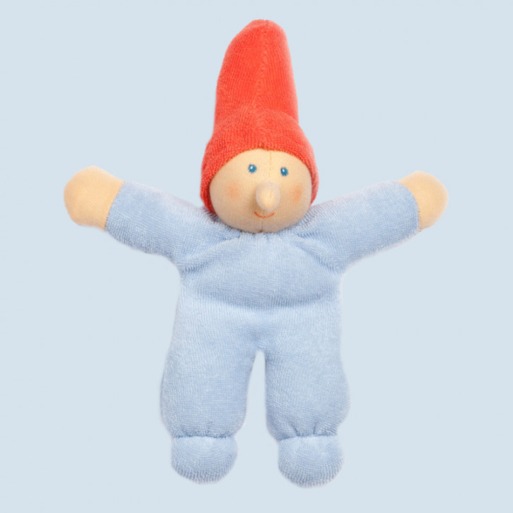 Nanchen Doll - little Dwarf - blue, organic cotton, eco