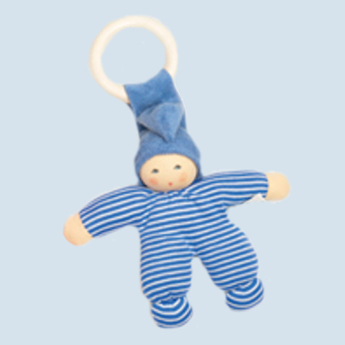 Nanchen Doll - Pimpel - blue striped, organic cotton, wooden ring, eco