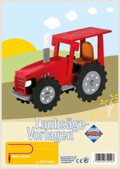 Pebaro - Laubsägevorlage - Traktor, rot - Holz