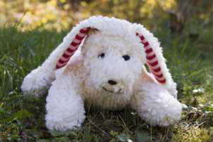 plue natur cuddly toy - dog Harro, white - eco