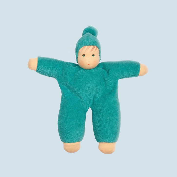 Nanchen eco doll - Schmuse - turquoise, organic cotton