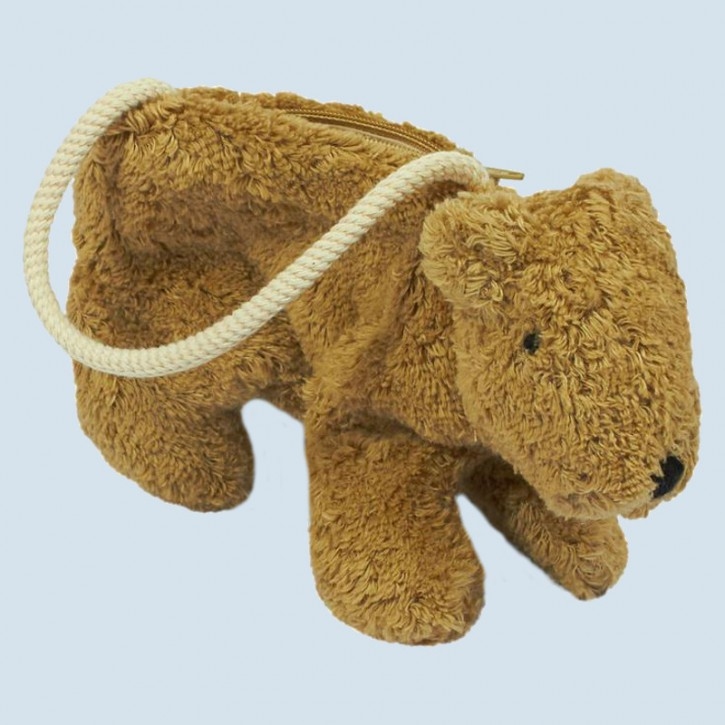 Senger bag, purse - Teddy Bear - beige, organic cotton, eco