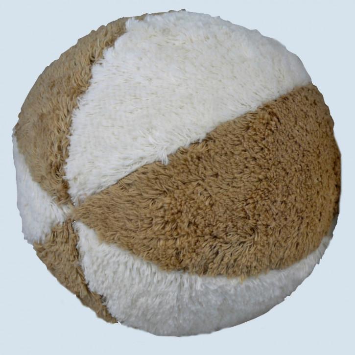 Senger - Ball beige weiß, mit Rassel - Bio Baumwolle