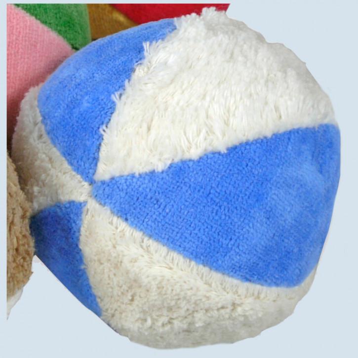 Senger - Ball blau weiß, mit Rassel - Bio Baumwolle
