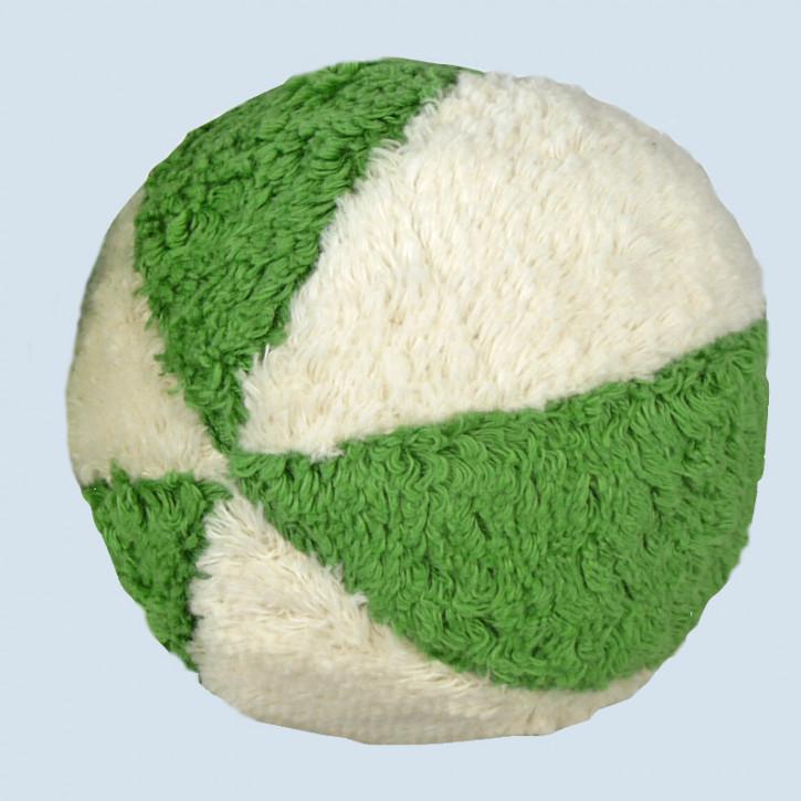 Senger Naturwelt - Ball grün weiß, mit Rassel - Bio Baumwolle