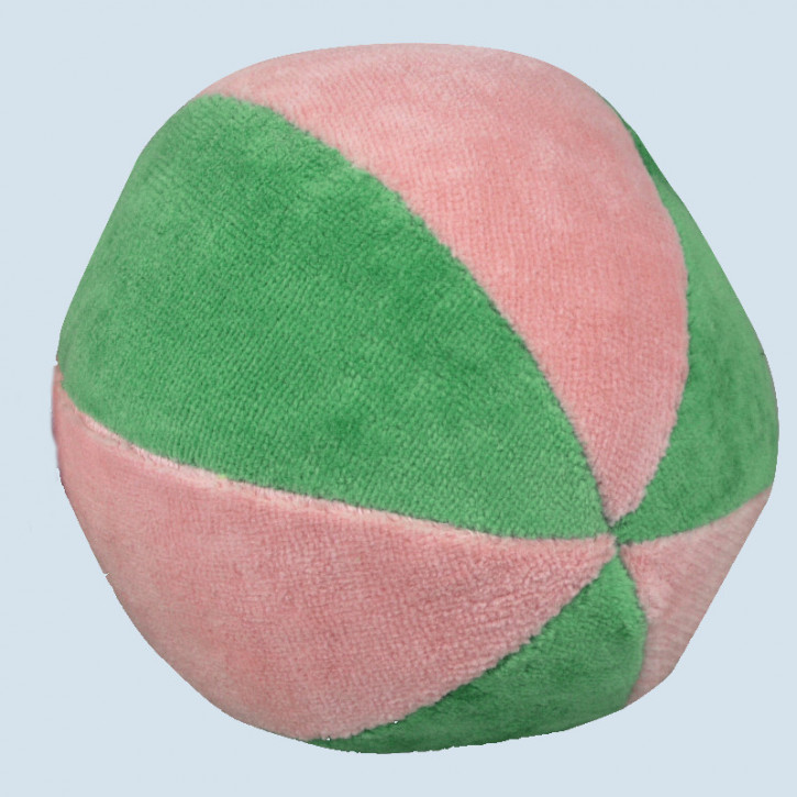 Senger animal dolls - Ball with Rattle - pink, green - organic