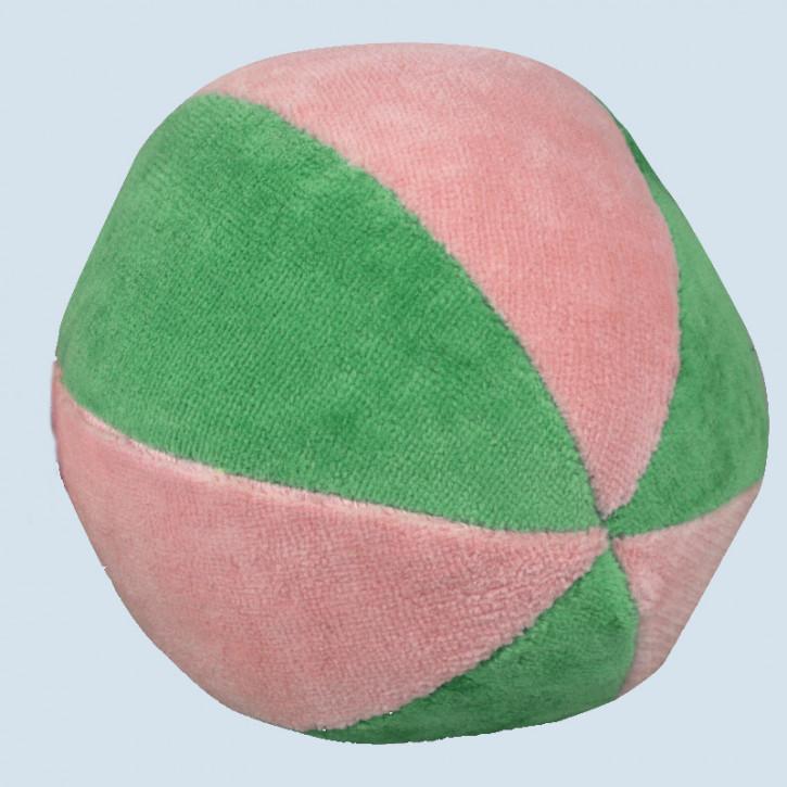 Senger - Ball rosa grün, mit Rassel - Bio Baumwolle