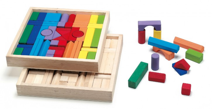 Wendelstein - wooden building bricks, blocks in a box - colored, without cover