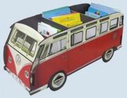 Werkhaus Bücherbus / Bücherbox - VW Bus T1 Bulli - Bücherregal, rot