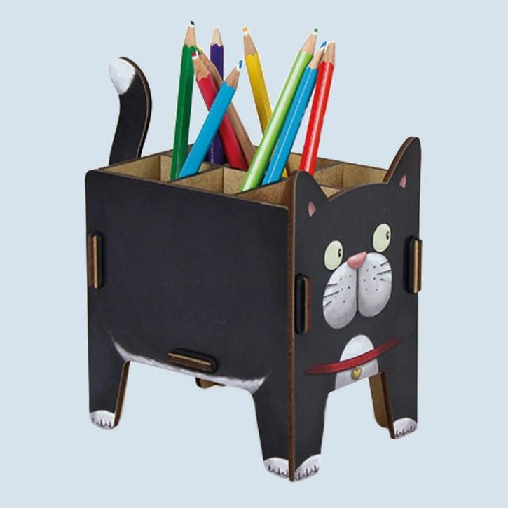 Werkhaus Pen holder - cat - black - made in Germany