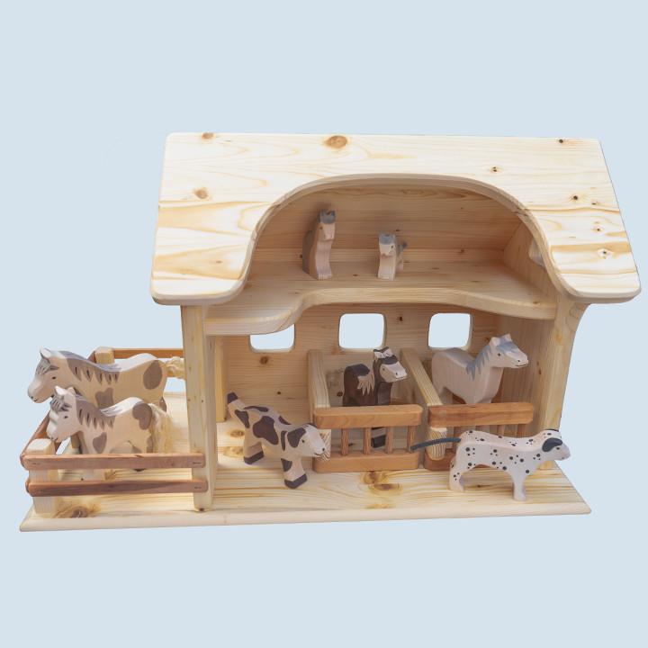 Drei Blätter - Pferdestall - Holzspielzeug