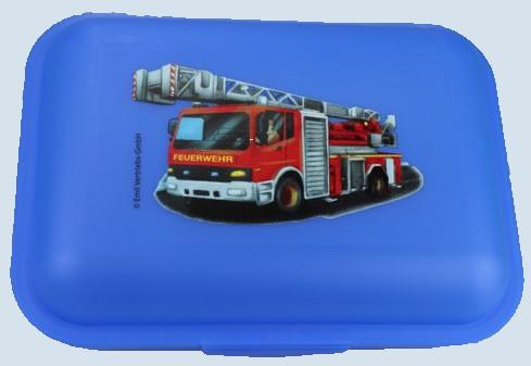 Emil die Flasche - Brotbox Feuerwehr - blau - gross