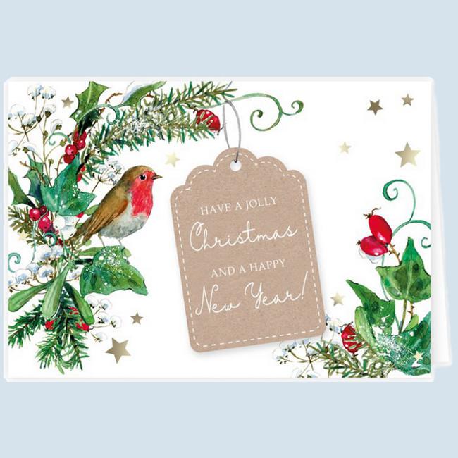 Grätz Verlag - Klappkarte - Weihnachtskarte, Rotkehlchen