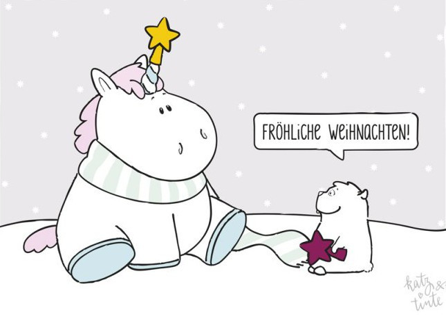 Grätz Verlag - Weihnachtskarte - Einhorn - mit Umschlag